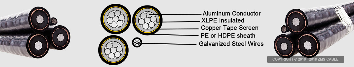 11KV Aluminum conductor XLPE insulated Overhead ABC Cable